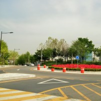 cross to the left at the roundabout